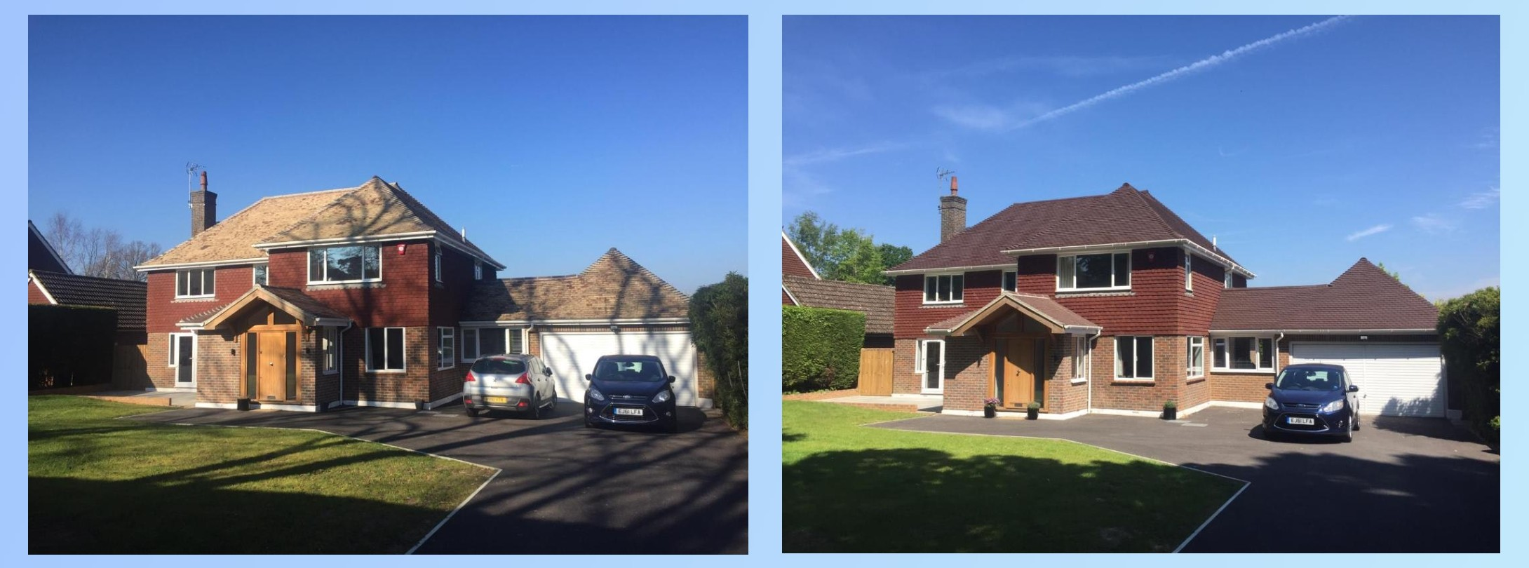 Before & After detached house. Brown roof tiles.